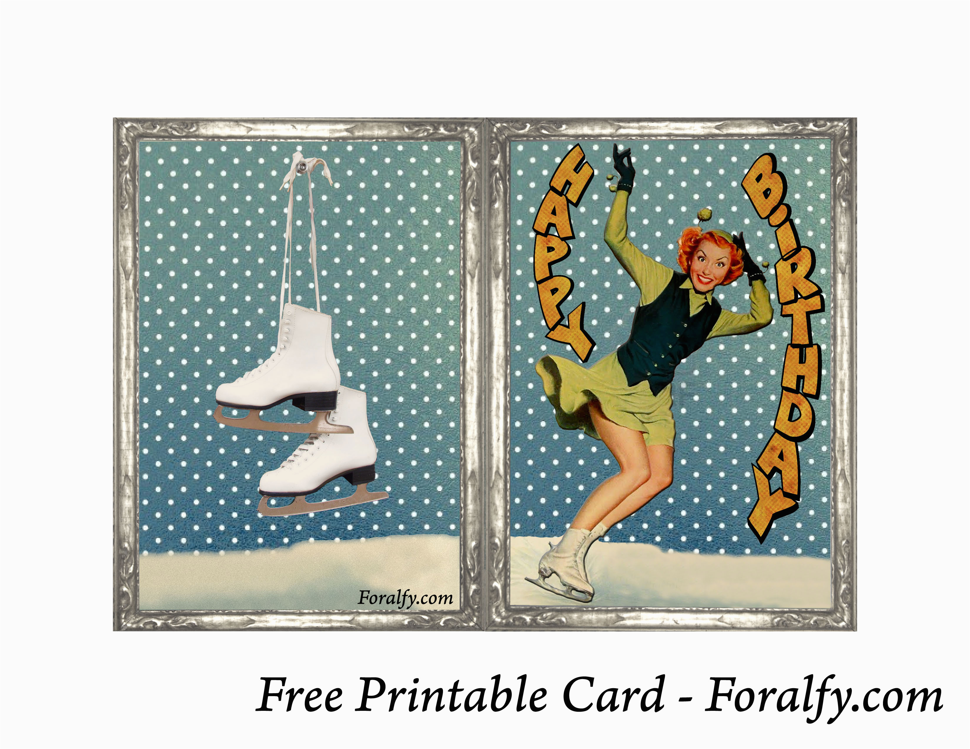 foralfy figure skating happy birthday card and envelope