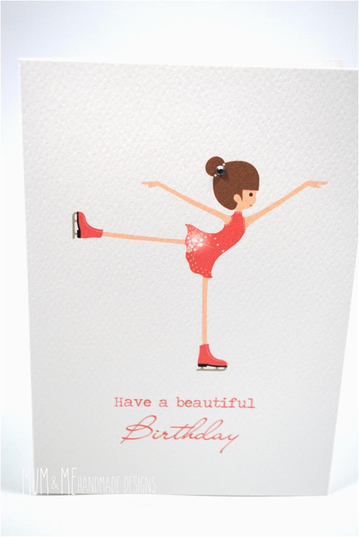 happy birthday card girl ice skating hbc152 mum