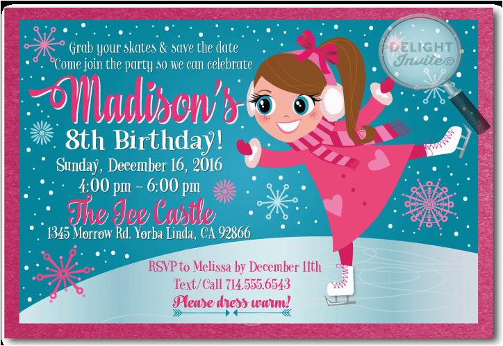 Ice Skating Birthday Card Ice Skating Birthday Invitations Ice Skating Princess