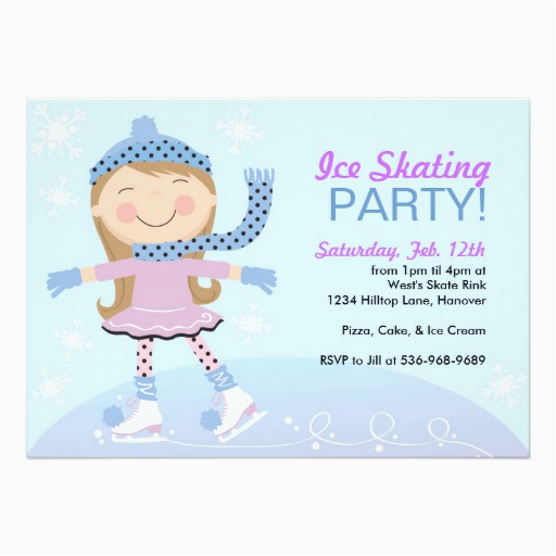 ice skating party invitations with girl skating zazzle