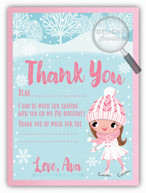 ice skating party thank you cards di 645ty harrison