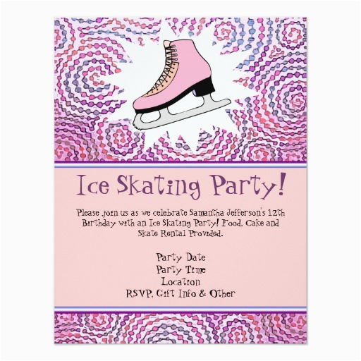 pink personalized ice skating party invitation card