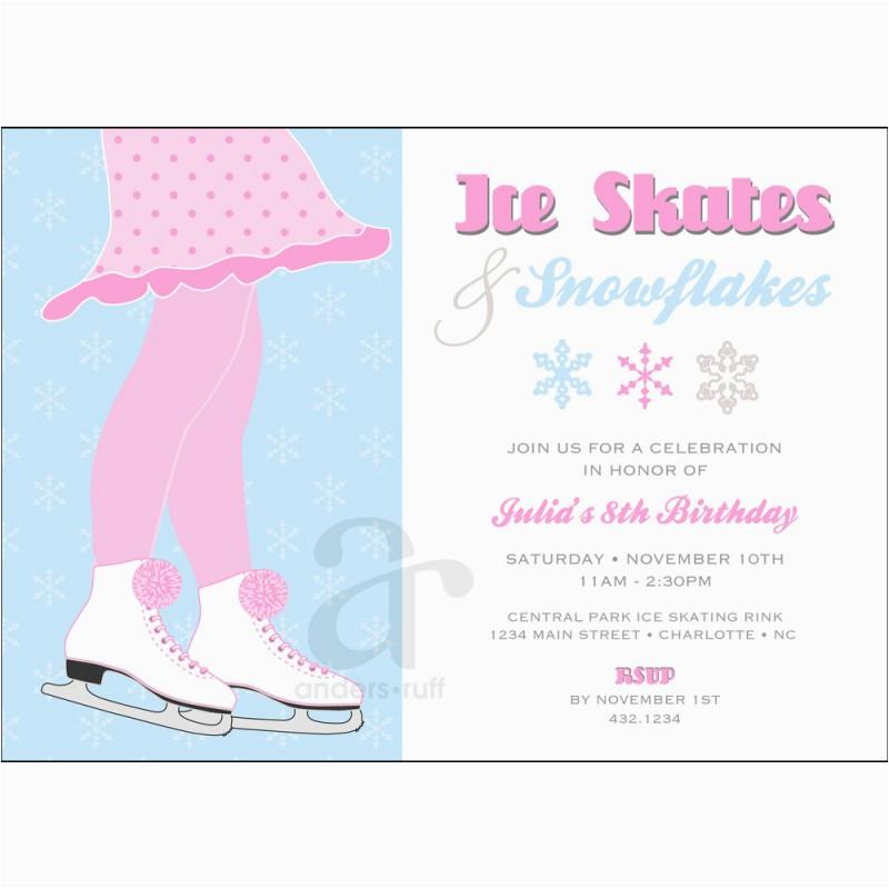 Ice Skating Birthday Party Invitations Free Printable Skates And