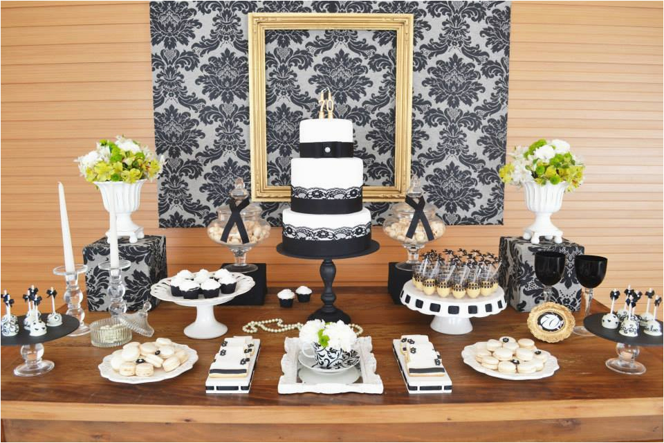 Ideas For 70th Birthday Party Decorations Gold Black Damask