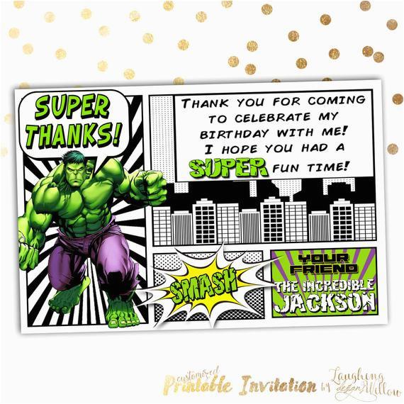 incredible hulk thank you card the hulk by
