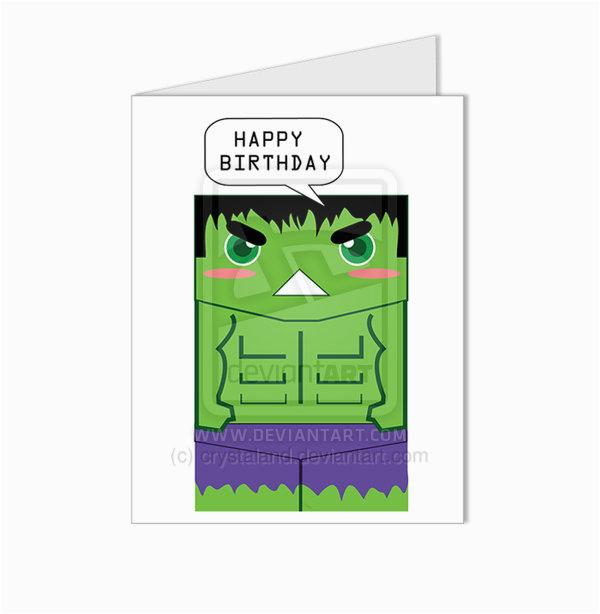 the incredible hulk superhero happy birthday card by