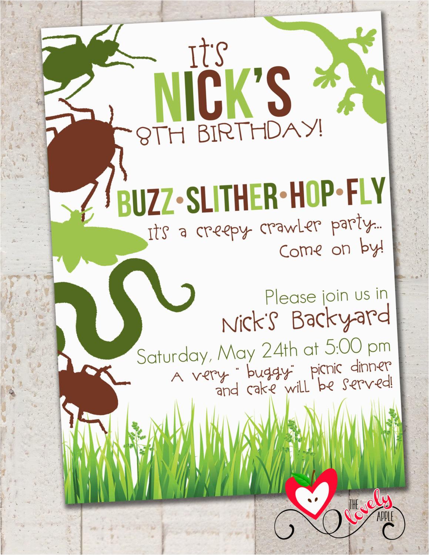 Insect Birthday Party Invitations Bug Creepy Crawler Invitation Diy Printable