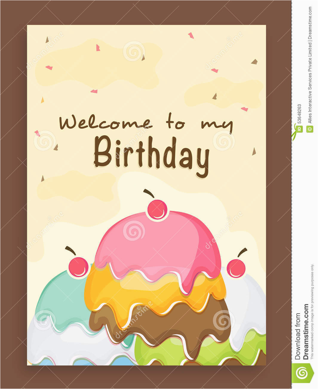 stock photo invitation card design birthday party beautiful vintage celebration decorated colorful cake image53648263