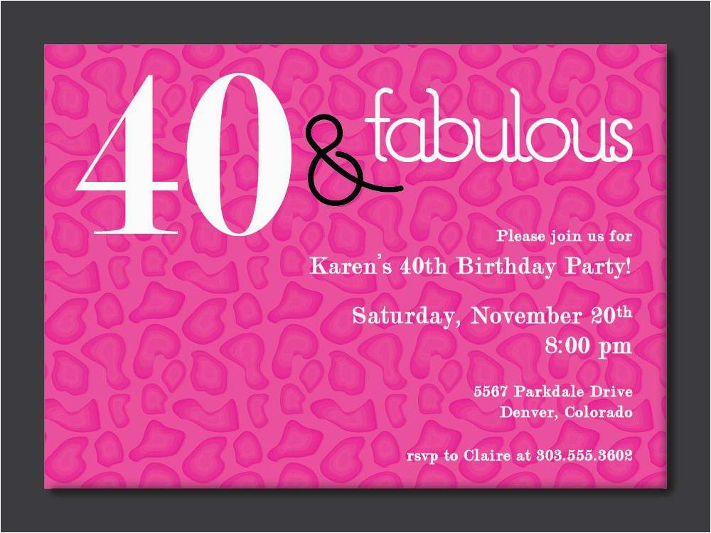 Invitation Cards for 40th Birthday Party 40th Birthday Free Printable Invitation Template