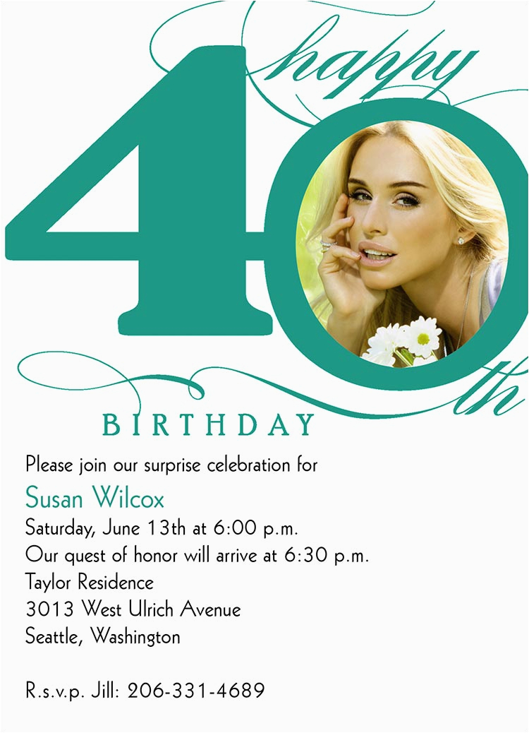 Invitation Cards For 40th Birthday Party Wording Bagvania Free Printable