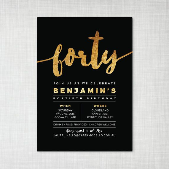 Invitation Cards For 40th Birthday Party Templates