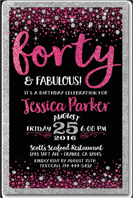 pink black forty and fabulous 40th birthday invitations