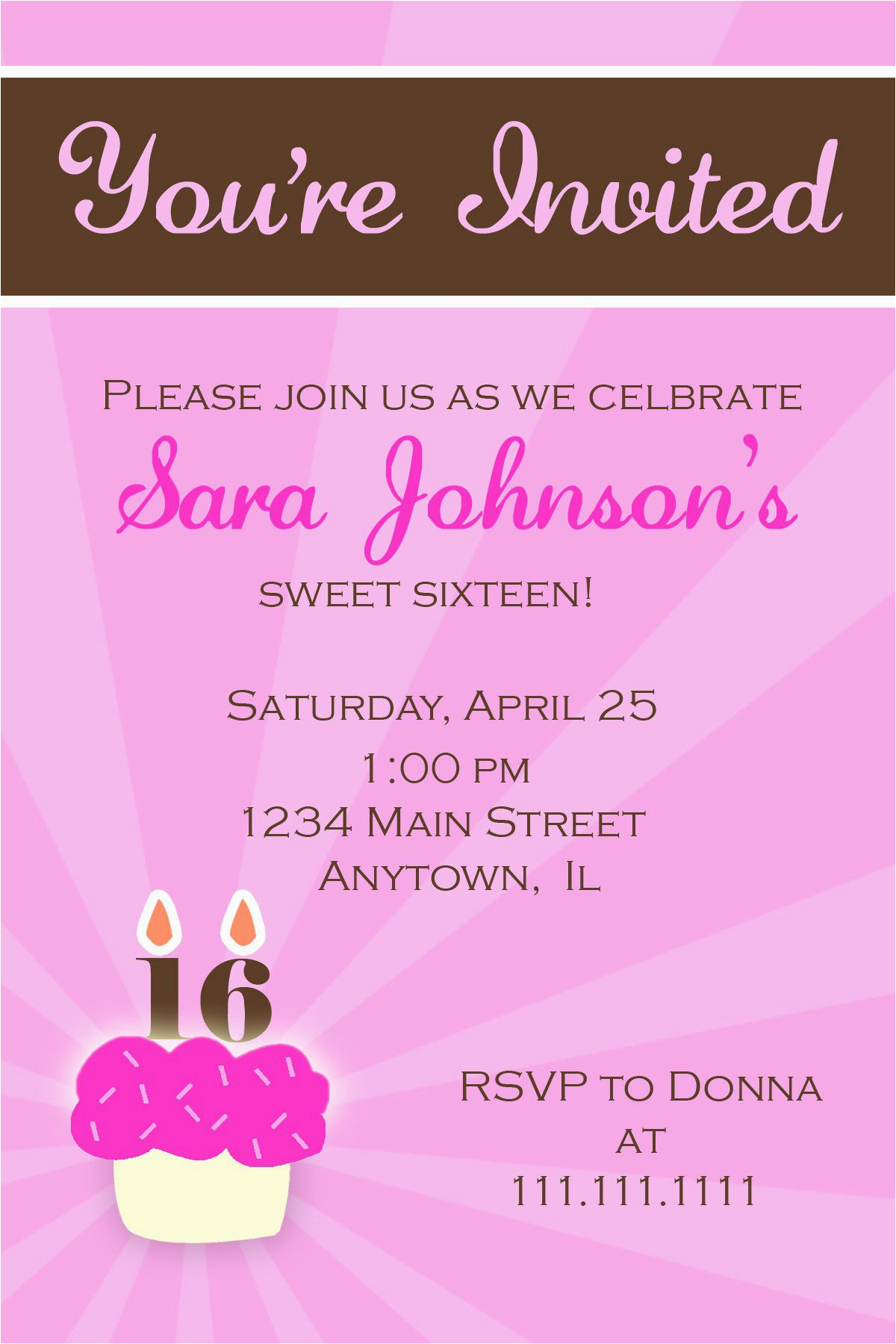 Invitation Cards for Sweet 16 Birthday Birthday Party Sweet 16 Birthday Invitations Templates