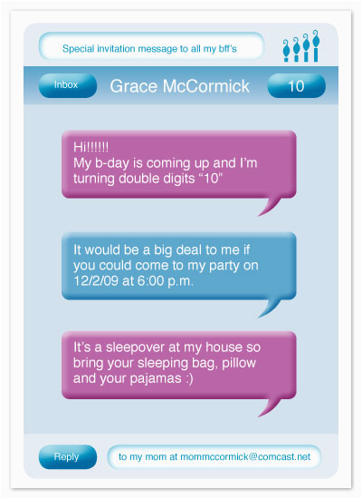 Invitation to Birthday Party Text Party Invitations Text Message at Minted Com