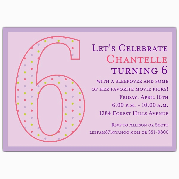Invitation Wording For 5th Birthday Girl Dots Invitations Paperstyle