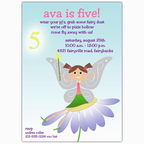 Invitation Wording For 5th Birthday Girl Fairy Fun Brunette Invitations Paperstyle