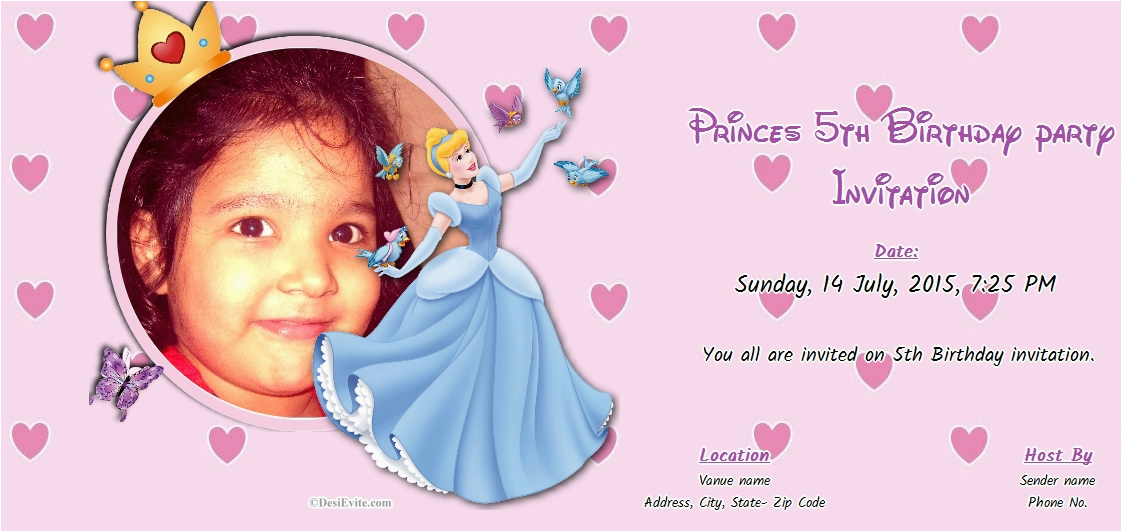 Invitation Wording For 5th Birthday Girl Free Online Party Cards