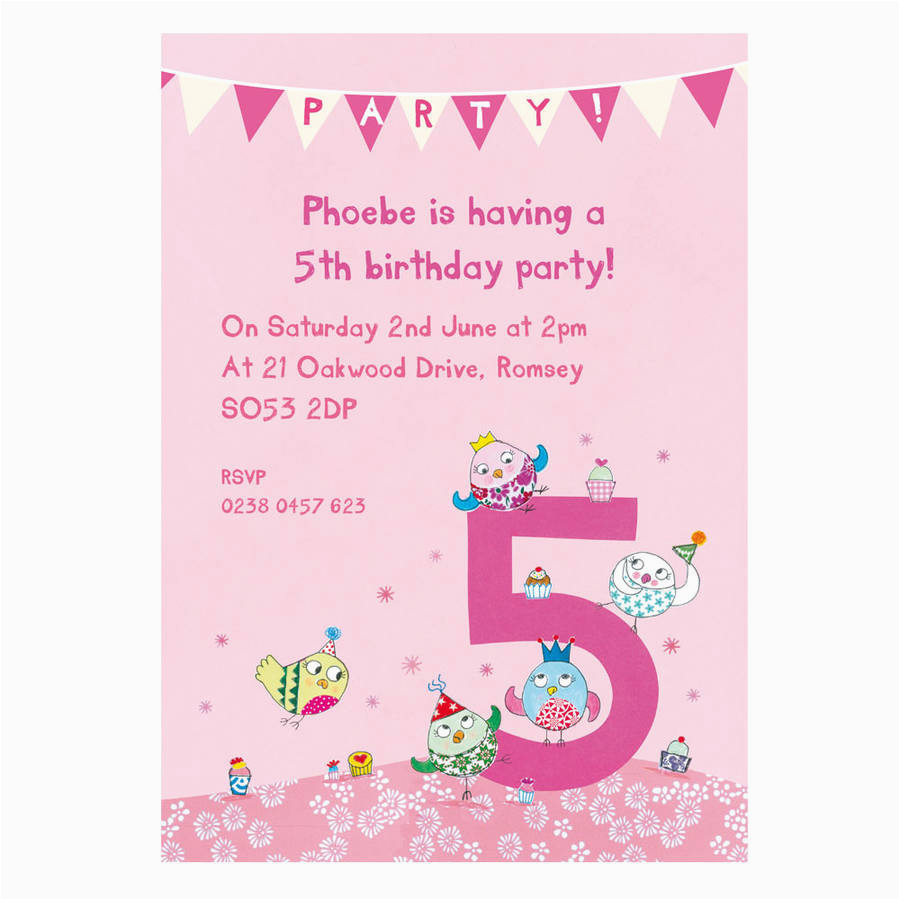 Invitation Wording For Birthday Girl Personalised Fifth Party Invitations Made Jpg 900x900 5th