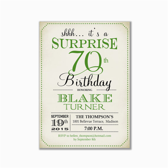 Invitation Wording For 70th Birthday Surprise Party Any Age Green Retro