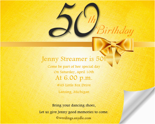 Invitations 50th Birthday Party Wordings Invitation Wording Samples And