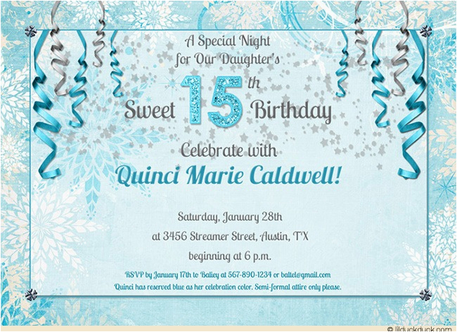 15th birthday party invitations