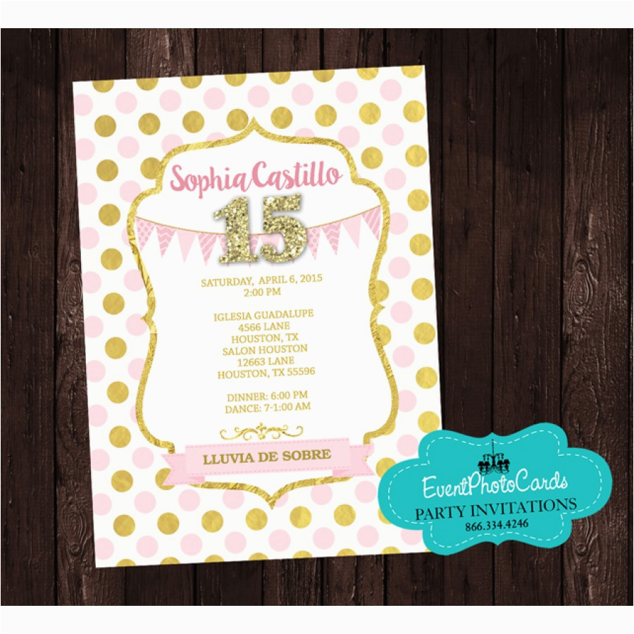pink gold princess quinceanera invitations