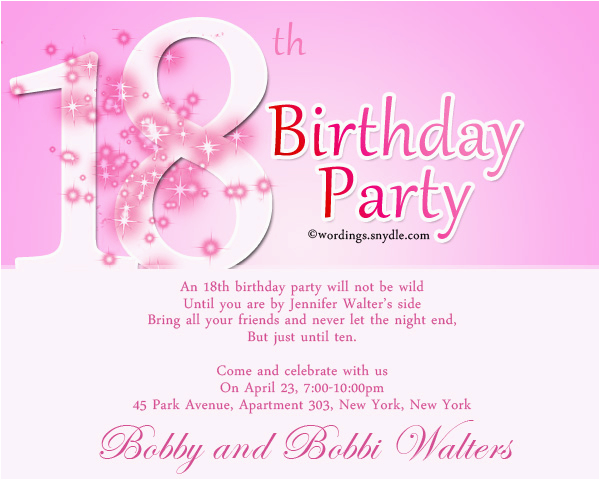 Invitations For 18th Birthday Party Invitation Wording Wordings And Messages