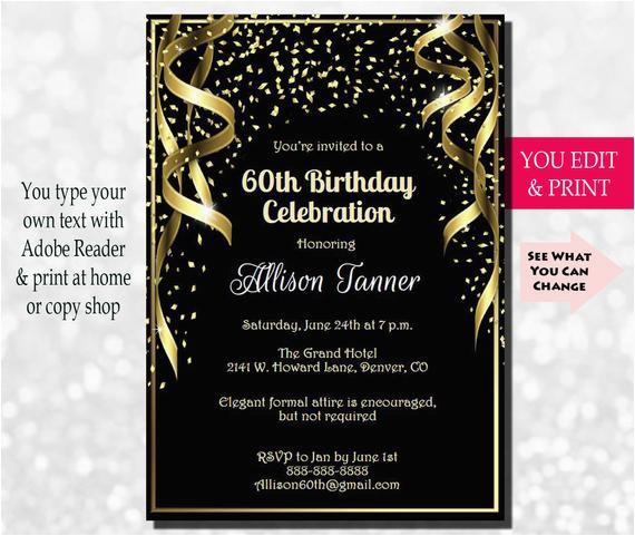 Invitations For 60 Birthday Party 60th Invitation