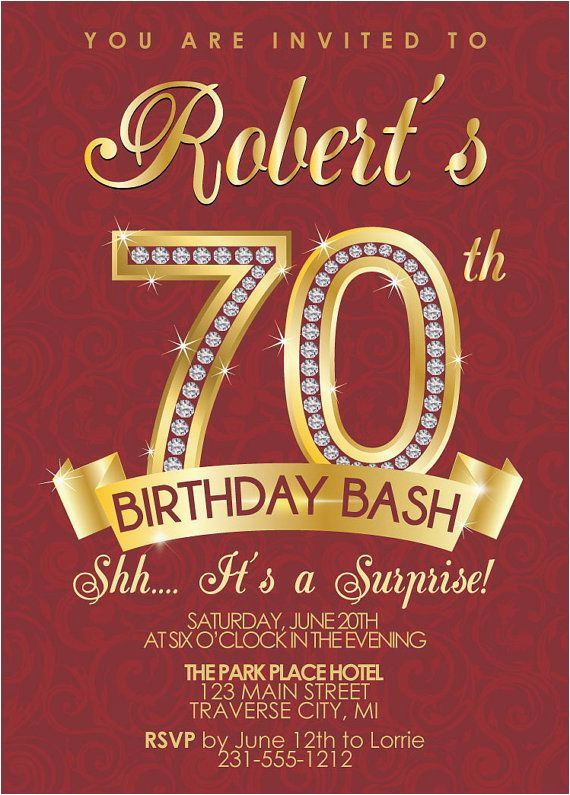 Invitations For 70th Birthday Party Templates 15 Design And Theme Ideas