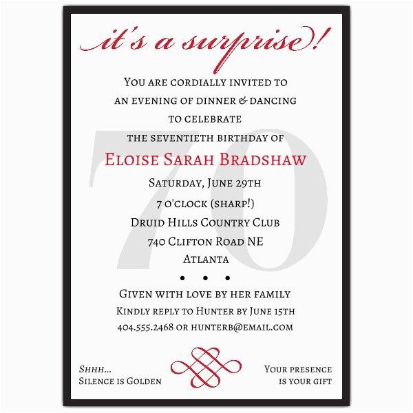classic 70th birthday red surprise invitations p 607 57 70s