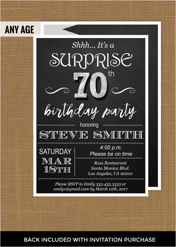 Invitations For 70th Birthday Surprise Party 70