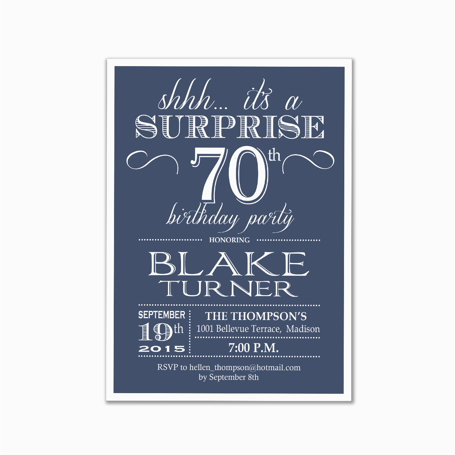 Invitations For 70th Birthday Surprise Party Invitation 80th 90th Any Age