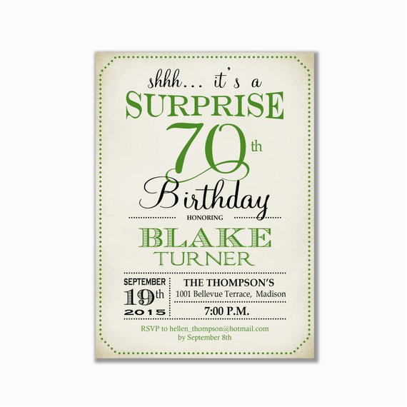 Invitations For 70th Birthday Surprise Party Invitation Any Age Green Retro