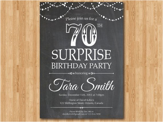 Invitations For 70th Birthday Surprise Party Invitation Chalkboard