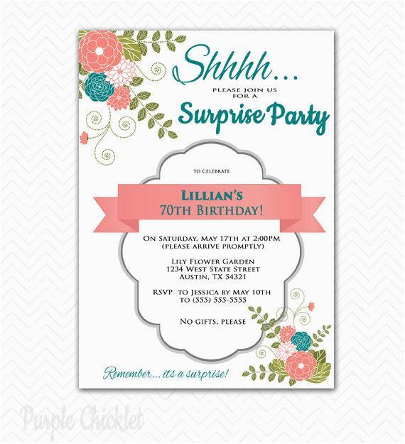 surprise invitation 70th birthday party