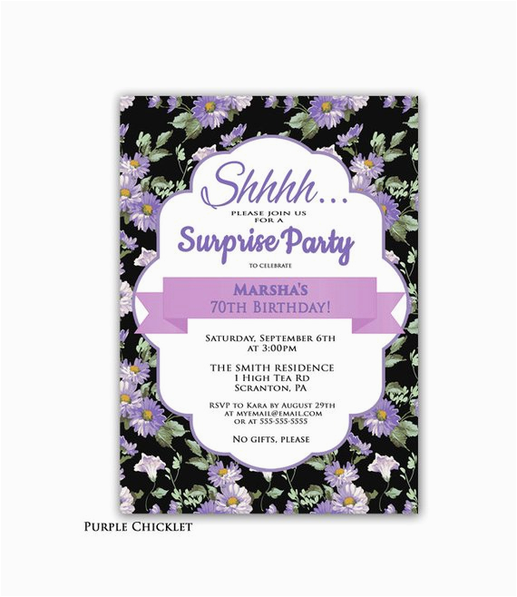 Invitations For 70th Birthday Surprise Party Invitation Purple By