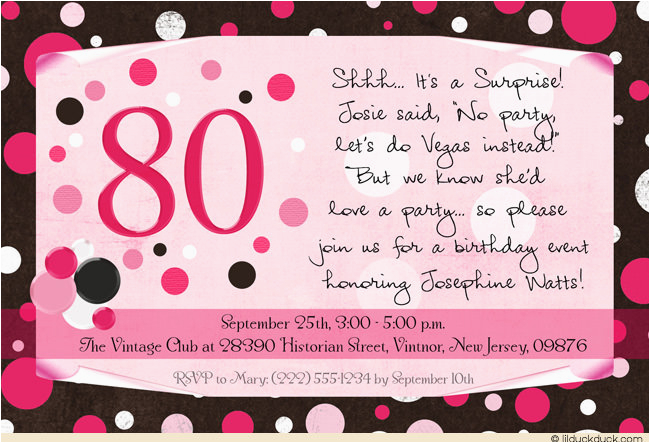 Invitations For 80th Birthday Surprise Party Wording Ideas