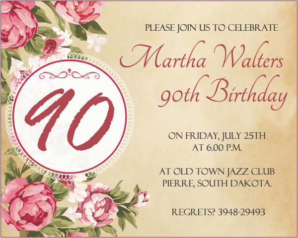 Invitations For 90th Birthday Party Invitation Wording 365greetings Com