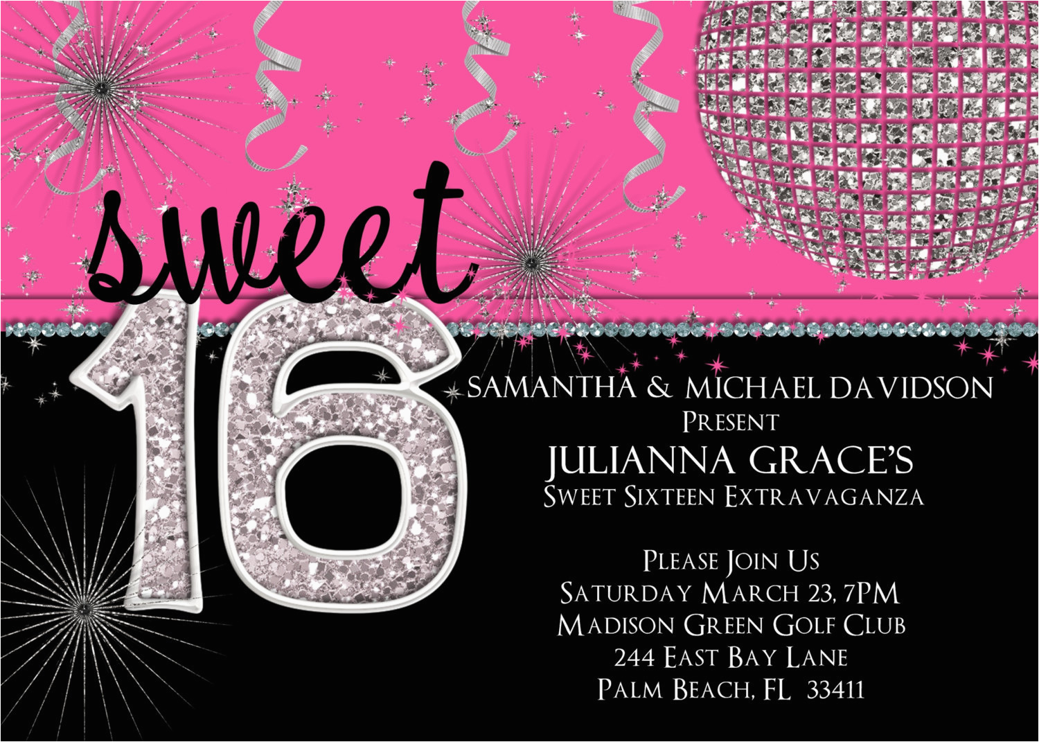 Invitations For A Sweet 16 Birthday Party Invitation Hot Pink Custom And Printable