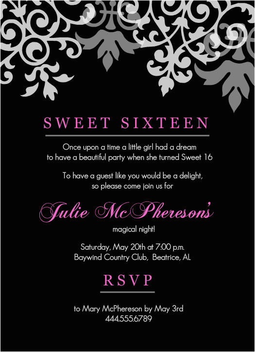 Invitations For A Sweet 16 Birthday Party 16th Templates Free Printable