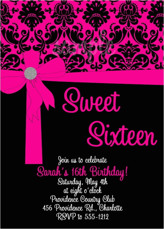 Invitations For Sweet Sixteen Birthday Party Pink Black 16 Quinceanera