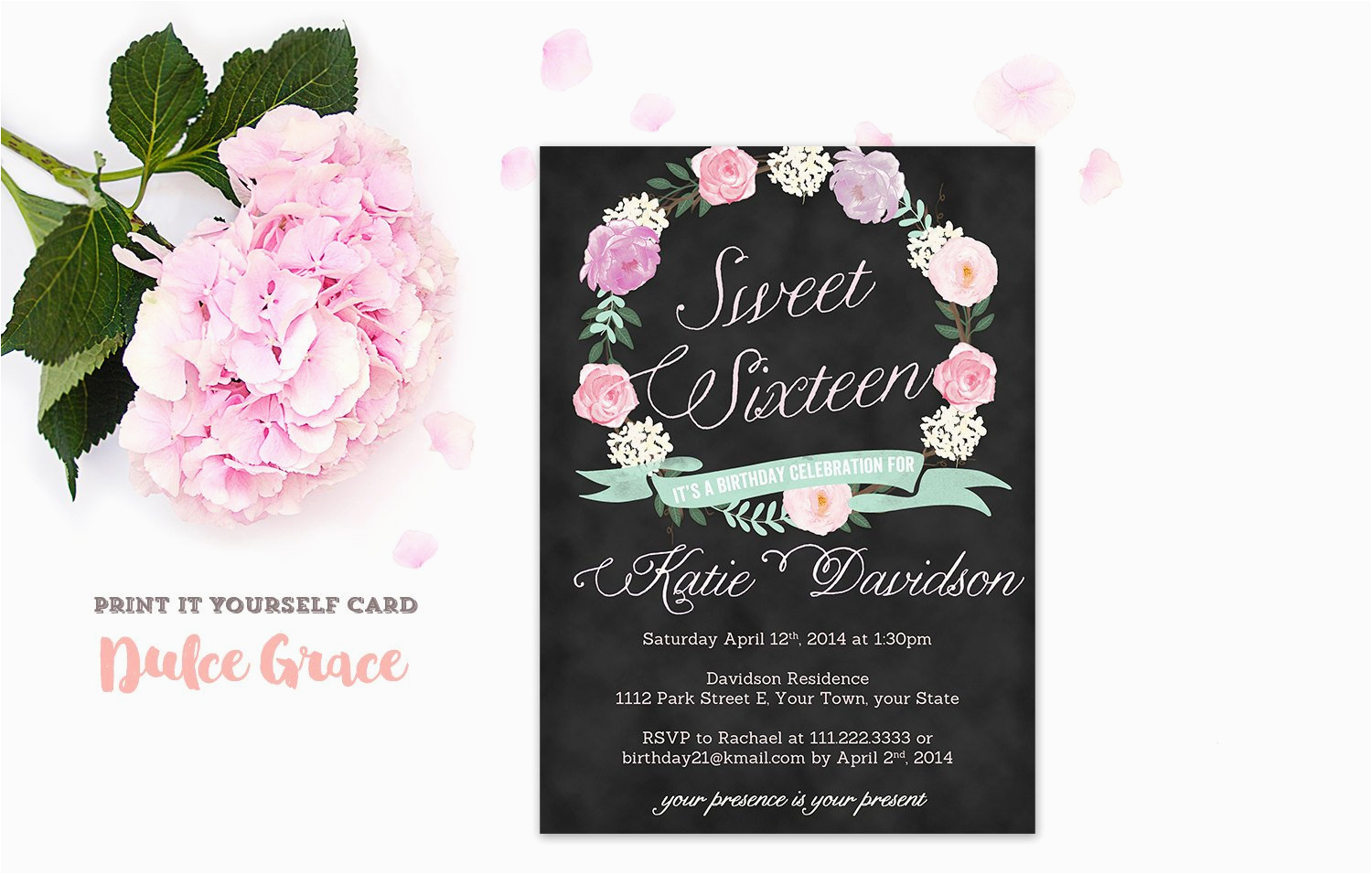 Invitations For Sweet Sixteen Birthday Party 16 Invitation Printable