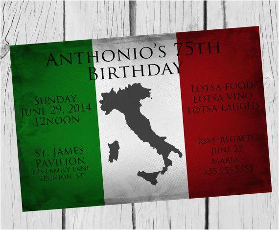Italian Birthday Party Invitations Italian Birthday Party Invitation Celebrate Any Birthday