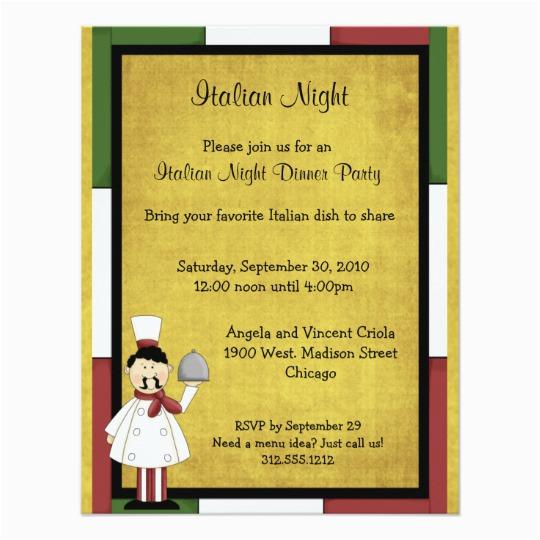 Italian Birthday Party Invitations Italian Night Dinner Party Invitation Zazzle Com