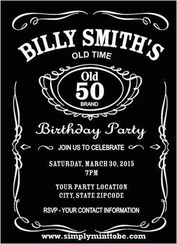 Jack Daniels Birthday Invitation Template Free Diy Inspired 50th 4x6