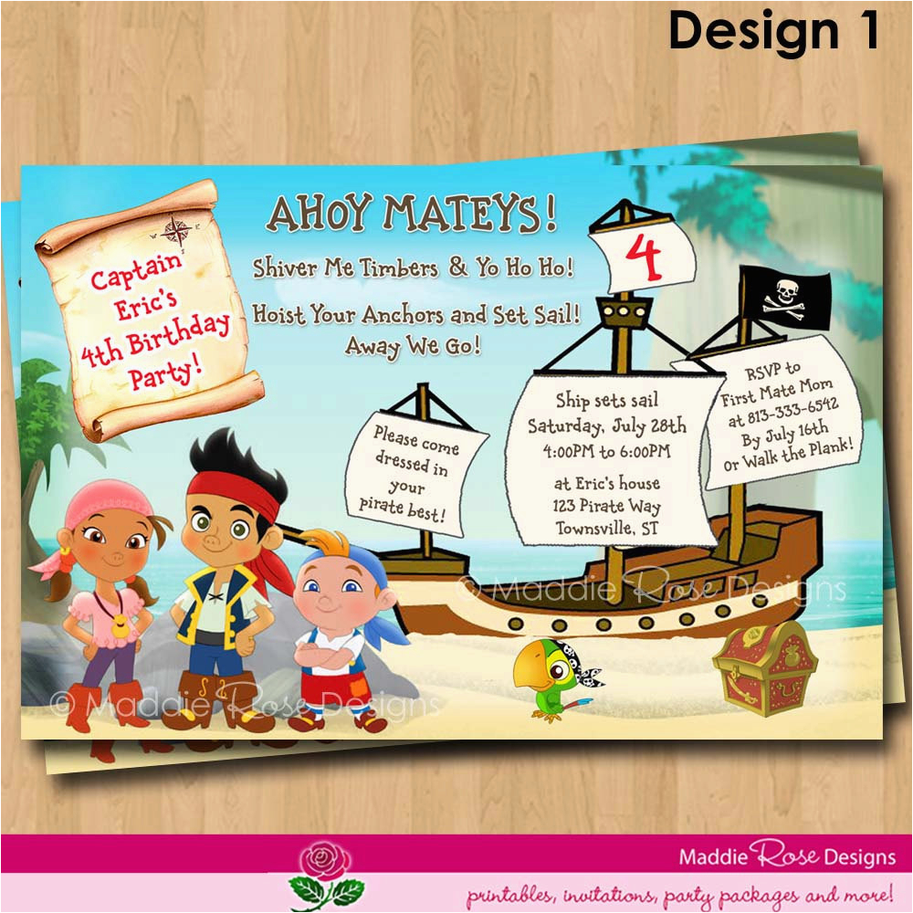 jake and the neverland pirates birthday invitations templates