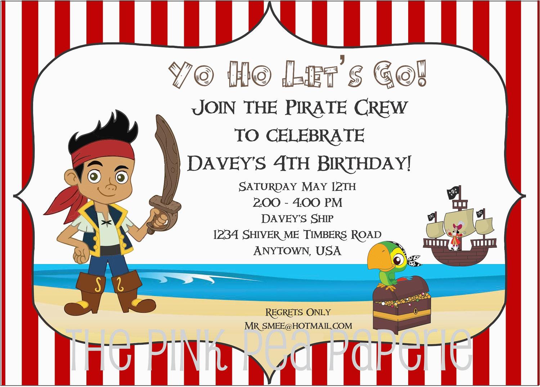 Jake and the Neverland Pirates Birthday Invitations Printable Jake and the Neverland Pirates Birthday Invitations