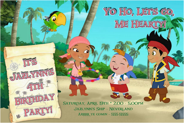 Jake And The Neverland Pirates Birthday Invitations Printable Custom Invitation