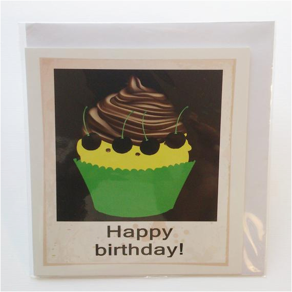 chocolate cupcake birthday card in