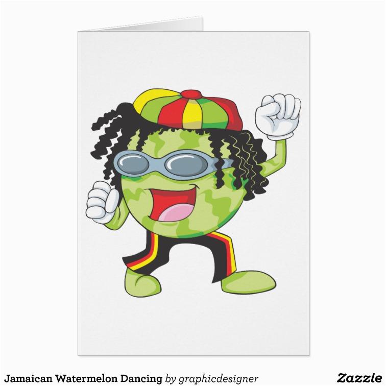 jamaican watermelon dancing greeting card 137810975852174974